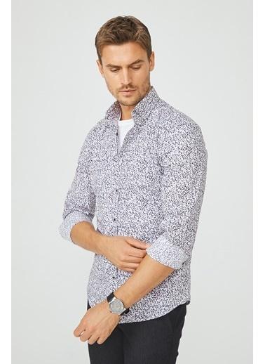 Avva Erkek  Baskılı Alttan Britli Gömlek A02Y2259 Beyaz